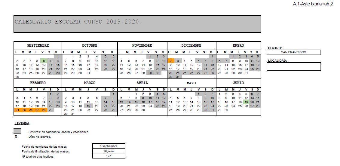 Calendario Vino 2020.Calendario Del Curso Escolar 2019 2020 Apyma Sfk